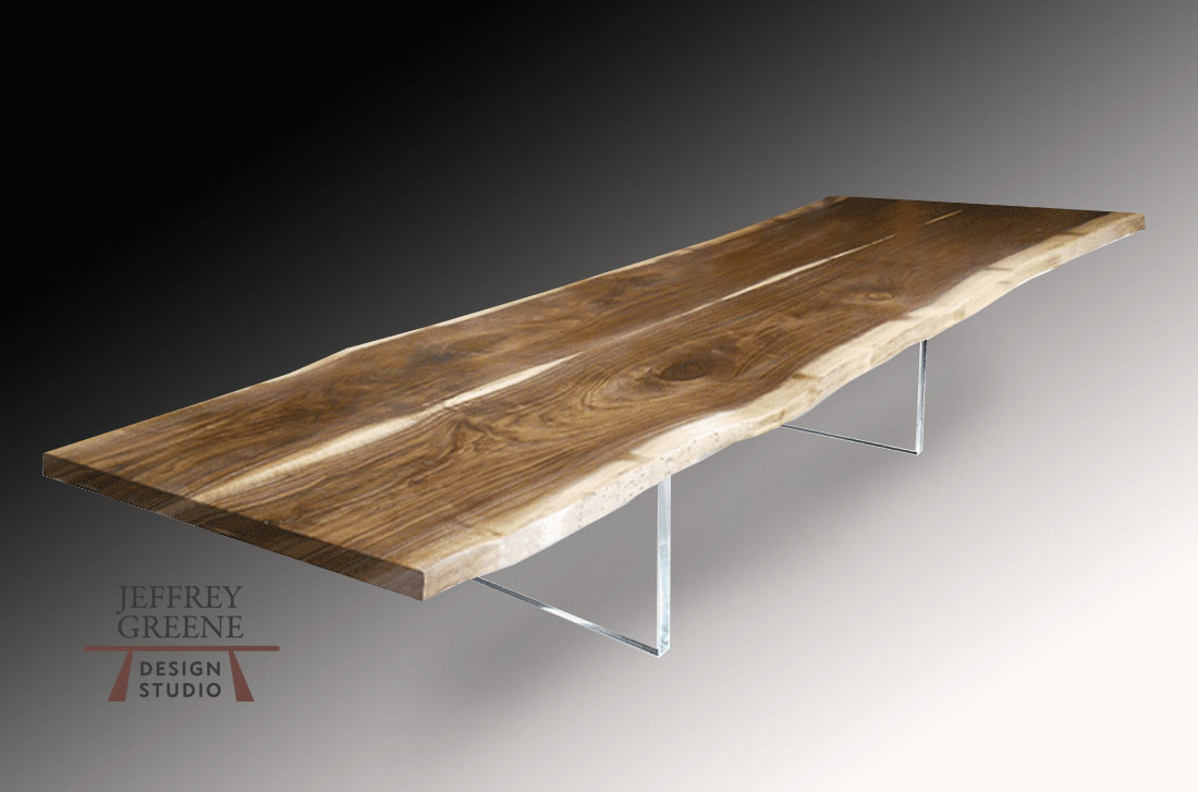 Live Edge Book Matched Black Walnut Solid Wood Slab Dining Table with Clear Plexiglass Board Leg by Jeffrey Greene