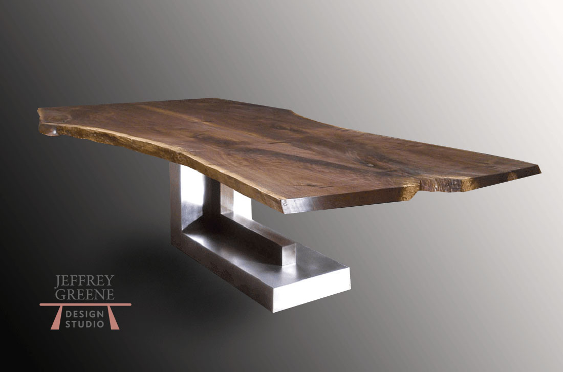 Silver Monolith Live Edge Dining Table