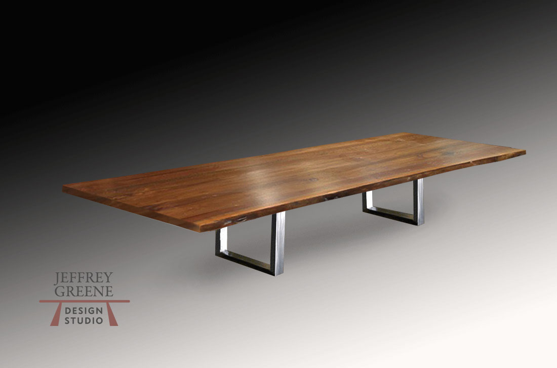 Divergence Series Brushed Steel Double Rectangle Base by Jeffrey Greene