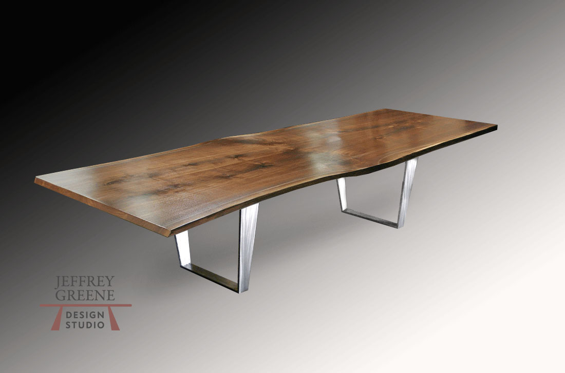 Double Folded Trapezoid Live Edge Dining Table