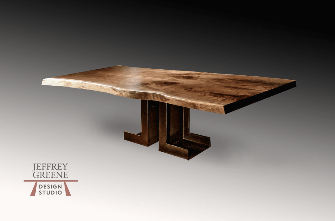 Industrial Double L Live Edge Dining Table