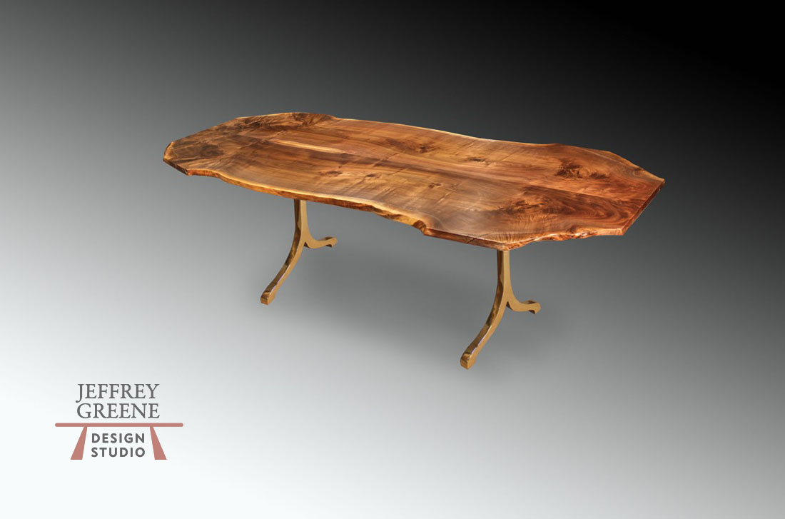 Solid Bronze Lady Taj Live Edge Dining Room Table
