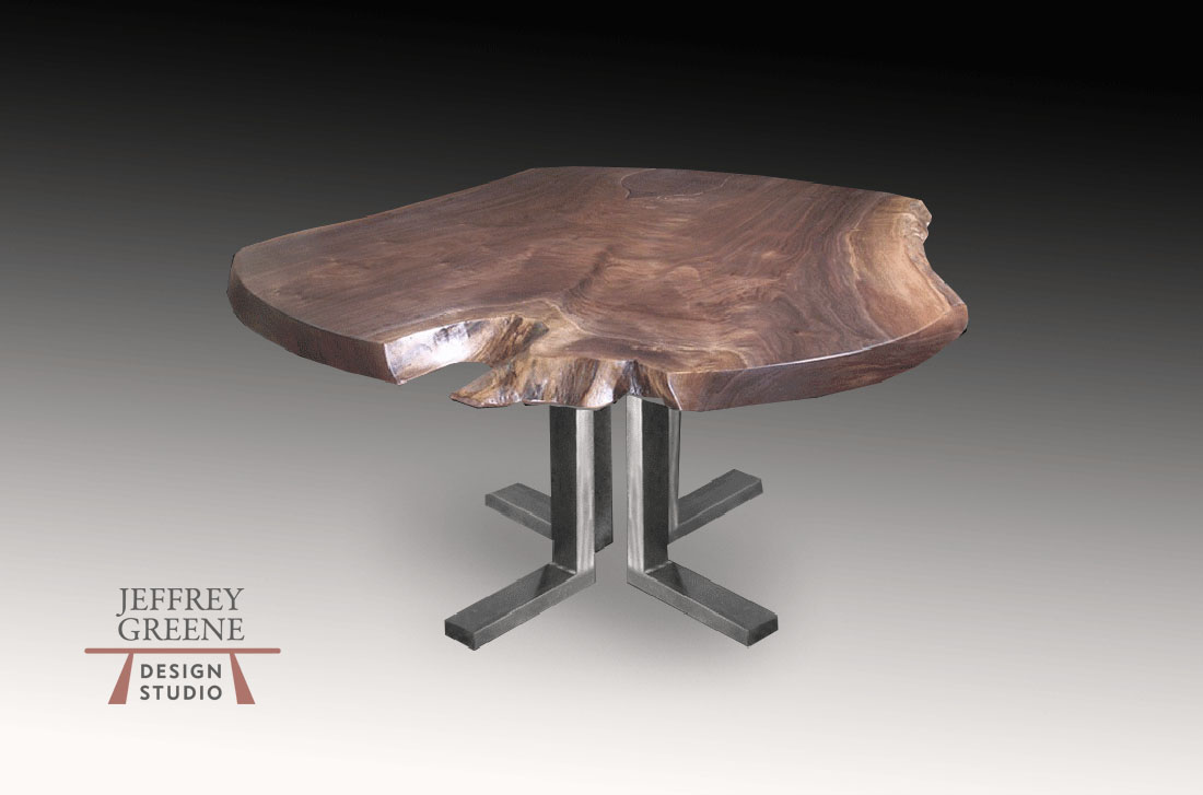 Alternate Slab Live Edge Single Black Walnut Solid Wood Slab Dining Table with Brushed Steel Quadruple L Base by Jeffrey Greene