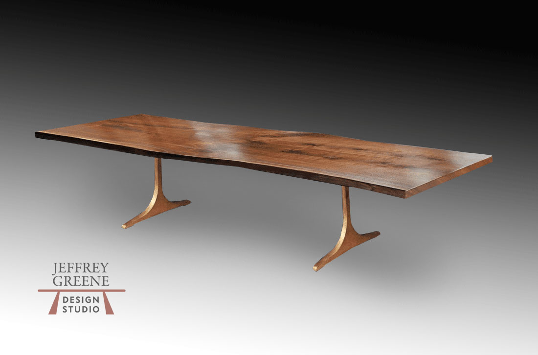 Live Edge Black Walnut Wood Slab Dining Table with Antique Brass Finish Solid Aluminum Sculpted T Base by Jeffrey Greene