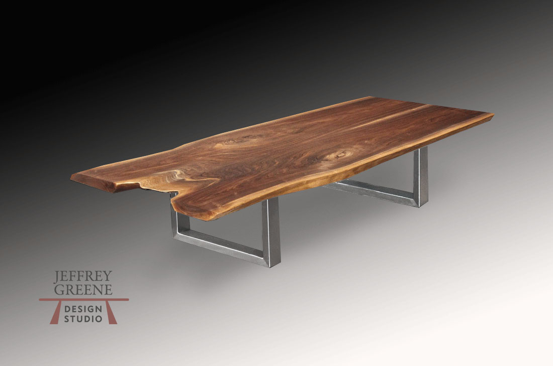 Live Edge Book Matched Black Walnut Solid Wood Slab Coffee Table with Brushed Steel Double Rectangle Base by Jeffrey Greene