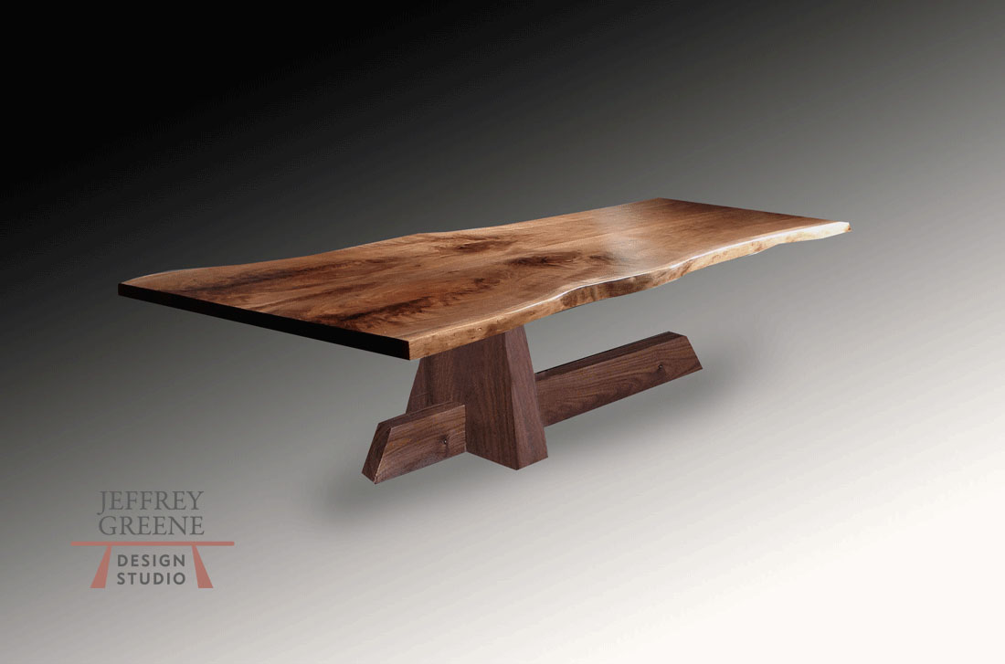 Shinto Live Edge Wood Slab Dining Table with Book Matched Black Walnut Solid Wood Slab and Base by Jeffrey Greene