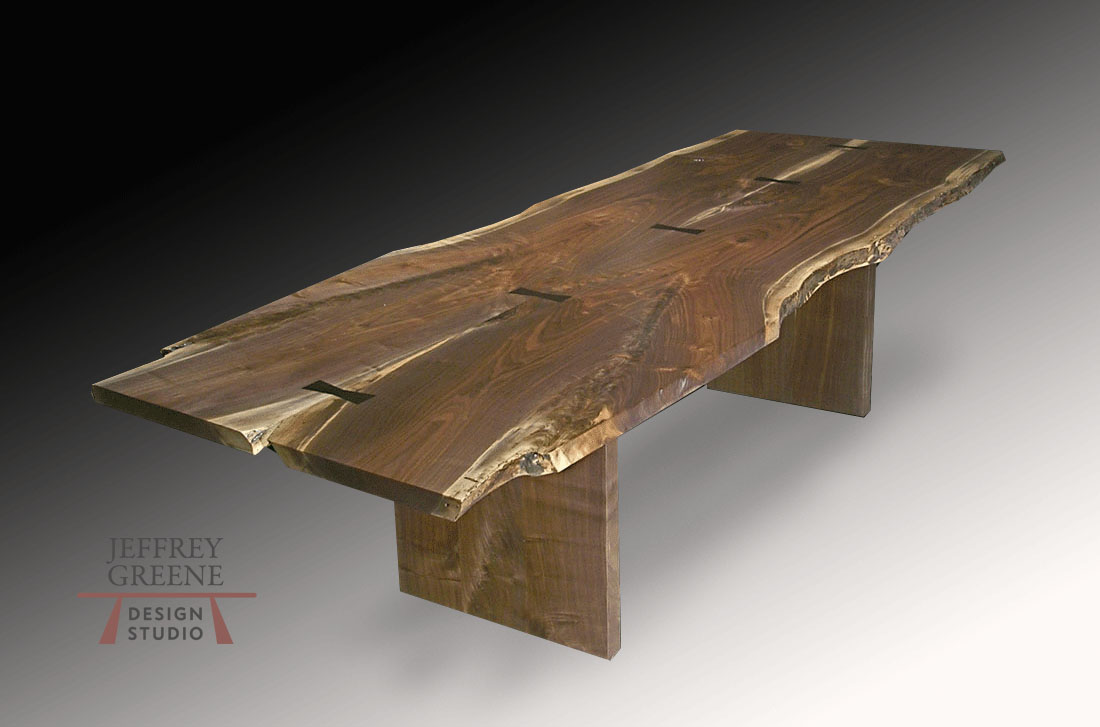 Live Edge Book Matched Black Walnut Solid Wood Slab Dining Table with Gabon Ebony Butterfly Surface Inlays with Straight Edge Solid Walnut Board Base by Jeffrey Greene