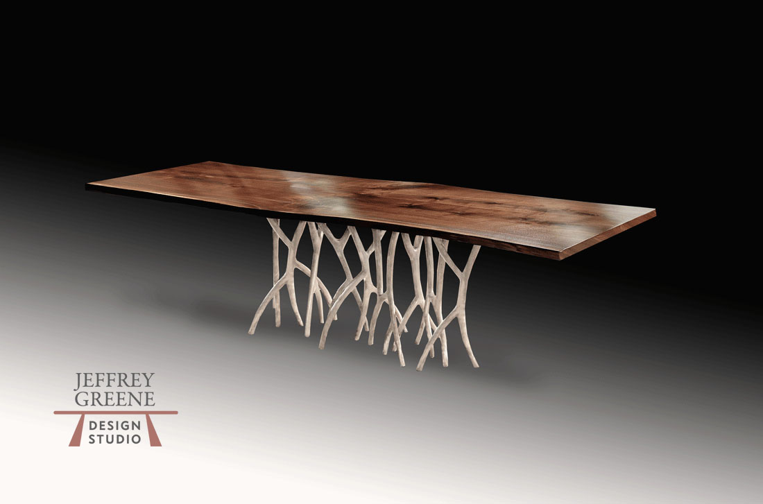 Silver Forest Live Edge Wood Slab Dining Table with Book Matched Black Walnut Solid Wood Slab and Solid Cast Aluminum Silver Forest Base by Jeffrey Greene