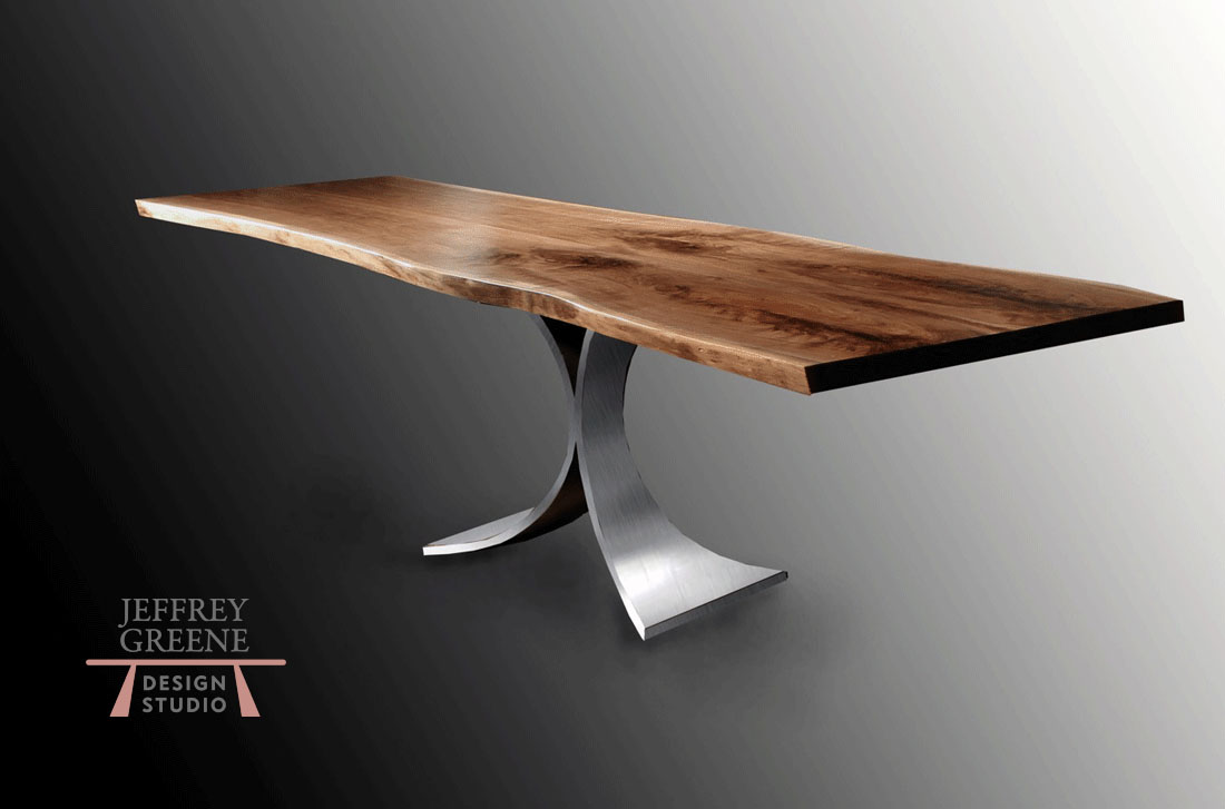 Steel Fountain Live Edge Dining Table