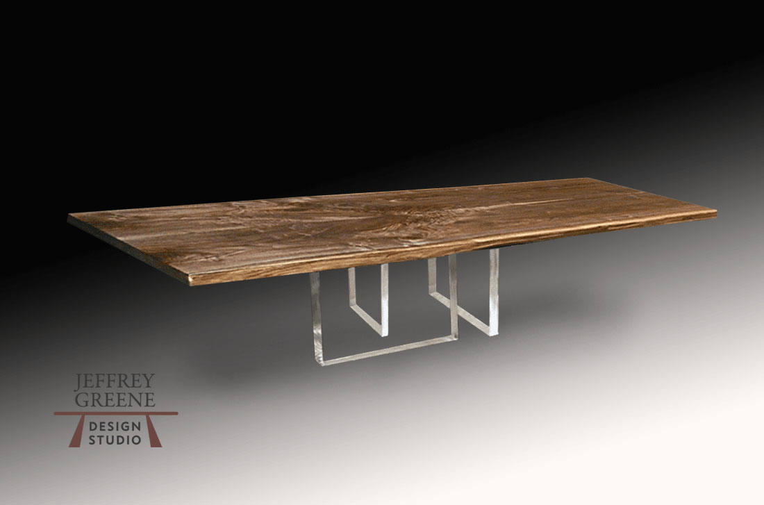 Live Edge Book Matched Black Walnut Solid Wood Slab Dining Table with Three Element Clear Plexiglass Board Base by Jeffrey Greene