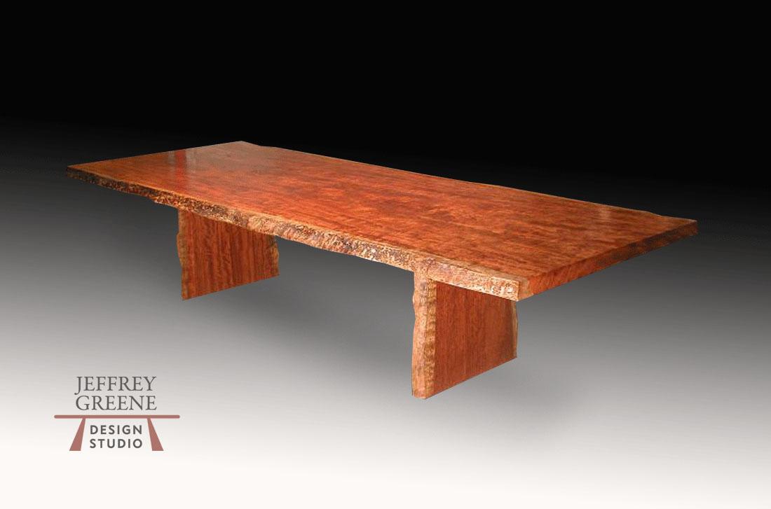 Natural Edge African Bubinga Solid Wood Slab Dining Table with Natural Edge African Bubinga Board Leg by Jeffrey Greene