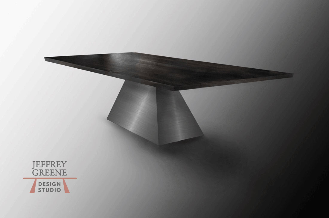 Rectangular Ebonized Maple Wood Slab Brushed Steel Pyramid Dining Table Special Commission by Jeffrey Greene