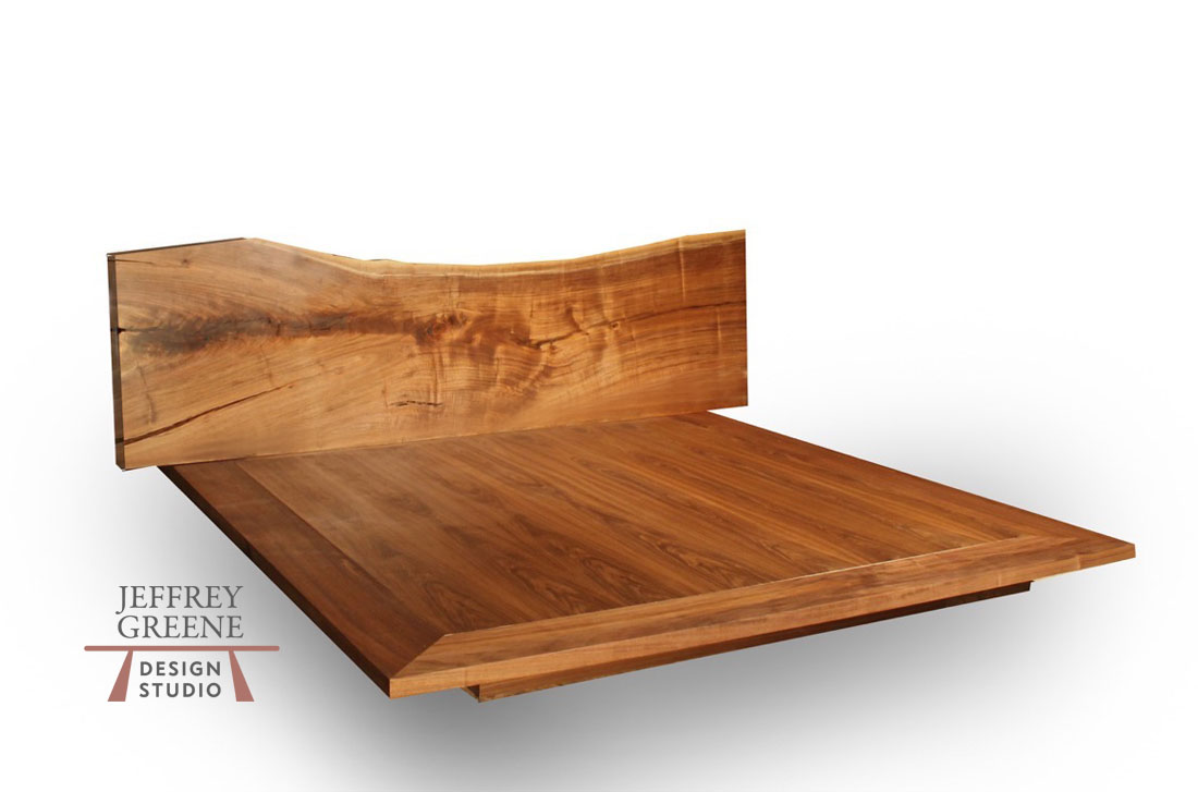 Live Edge Wood Slab King Size Bed