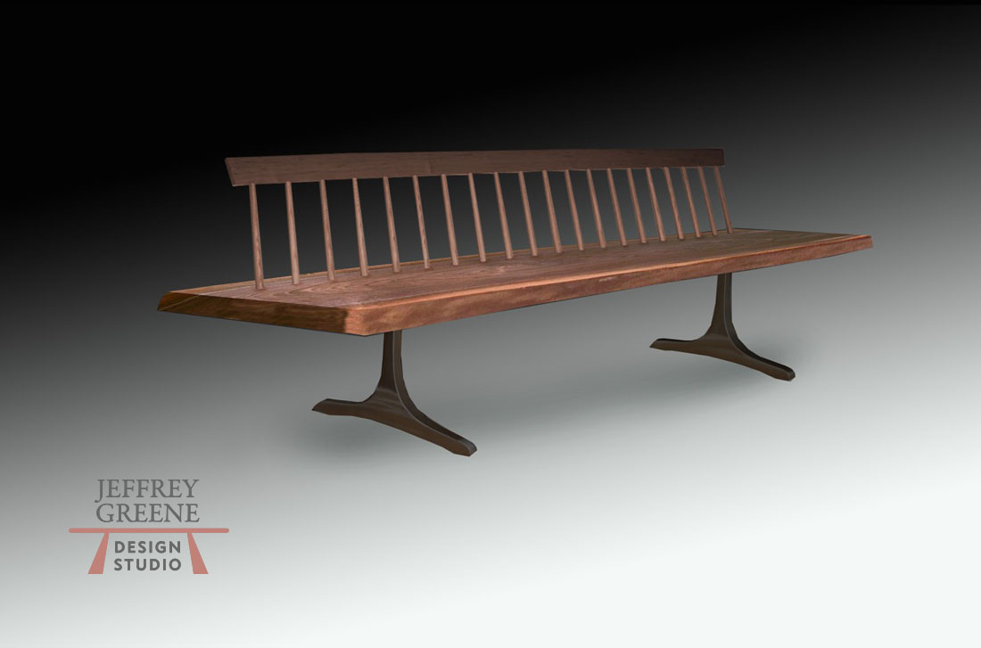 Live Edge Black Walnut Wood Slab Spindleback Bench Dark Oiled Bronze Finish Sculpted T Jeffrey Greene