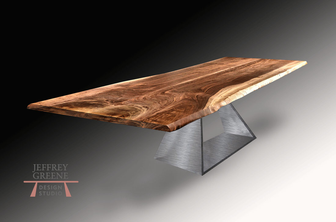 Live Edge Black Walnut Wood Slab Conference Table with Brushed Steel Massive Folded Trapezoid Base