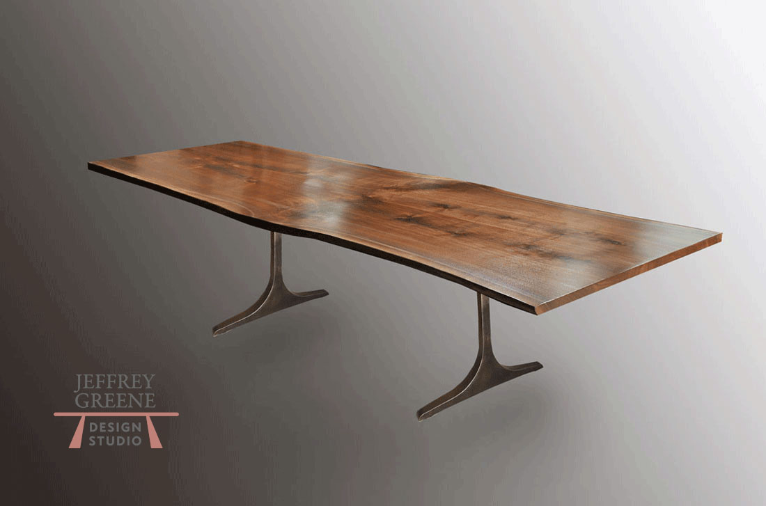 Sculpted T Live Edge Wood Slab Dining Table with Book Matched Black Walnut Solid Wood Slab and Dark Oiled Bronze Finish Solid Aluminum Base