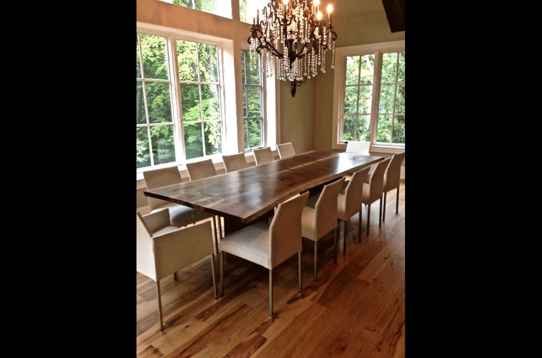 Live Edge Book Matched Black Walnut Solid Wood Slab Dining Table with Ebony Butterfly Surface Inlays and Straight Edge Board Legs