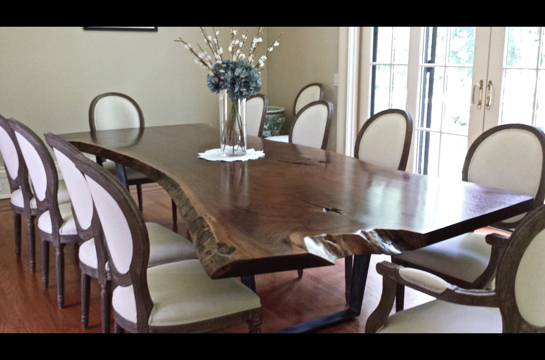 Live Edge Single Black Walnut Solid Wood Slab Dining Table with Wrought Iron Finish Double Folded Trapezoid Base