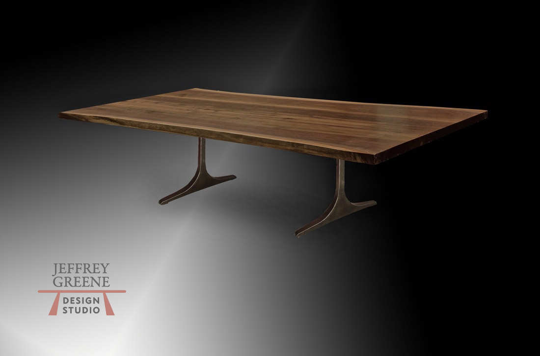 Natural Edge Black Walnut Dining Table 8W227 8 foot length Jeffrey Greene