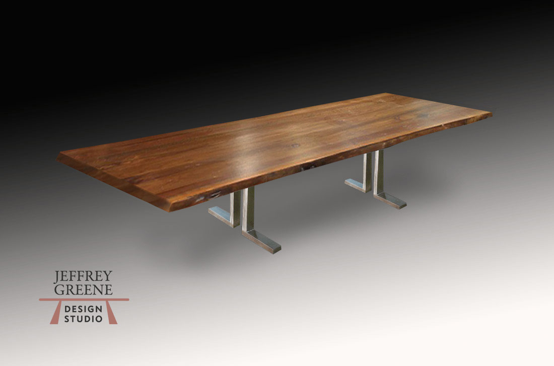 Divergence Series Brushed Steel Double L Base by Jeffrey Greene