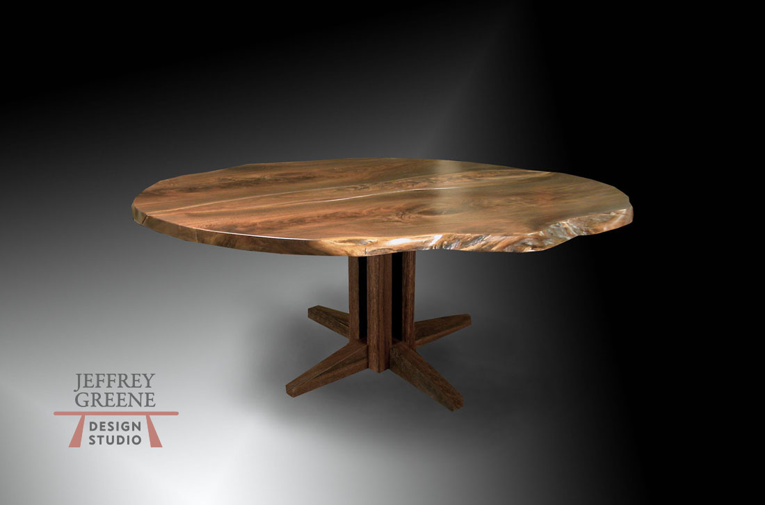Criss Cross Round Natural Edge Black Walnut Criss Cross Dining Table Jeffrey Greene