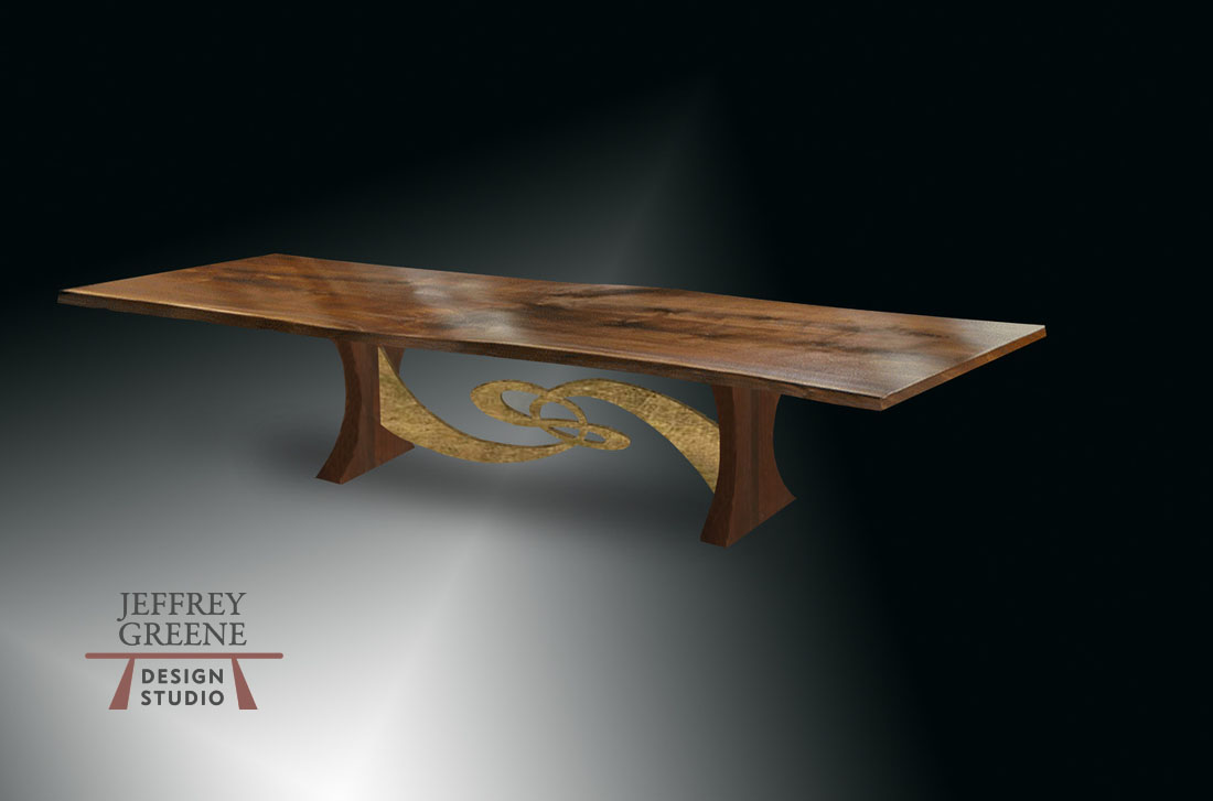 Steel Tai Chi Rare Wood Slab Dining Table