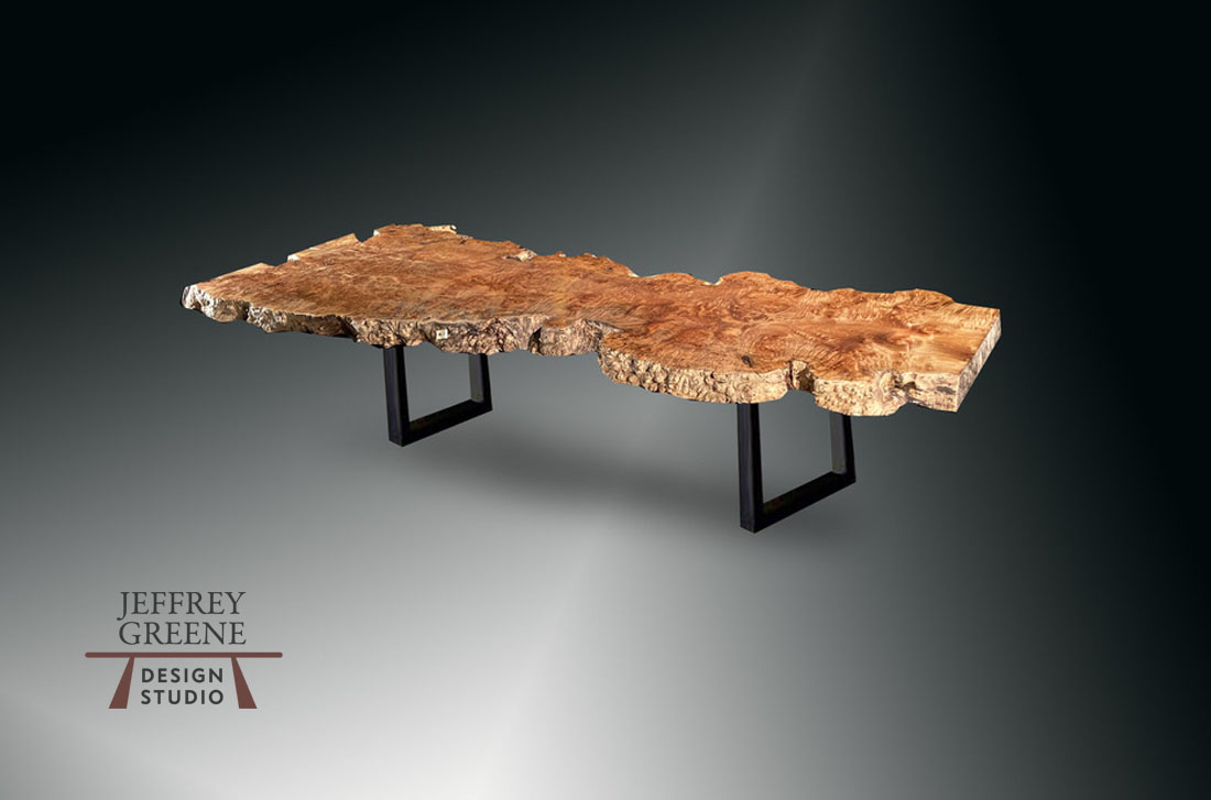 Live Edge Oregon Big Leaf Maple Burl with Burnished Black Double Rectangle Base Jeffrey Greene