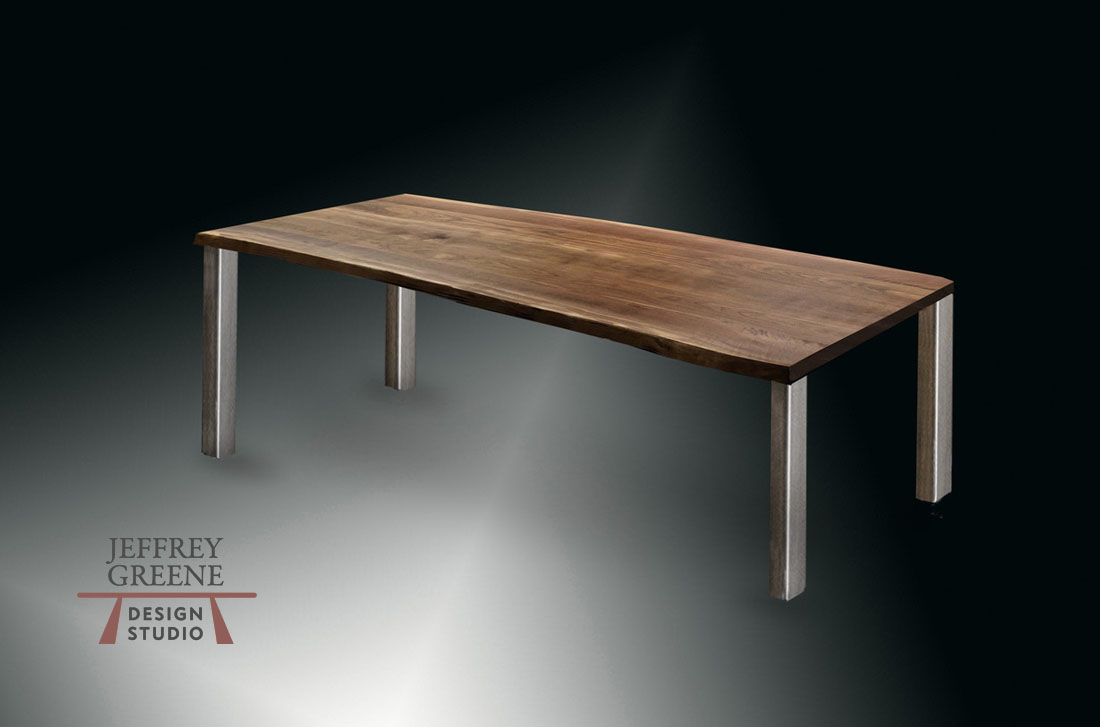 10 Foot Live Edge Black Walnut Divergence Series Dining Table with Brushed Steel Parson Base Jeffrey Greene