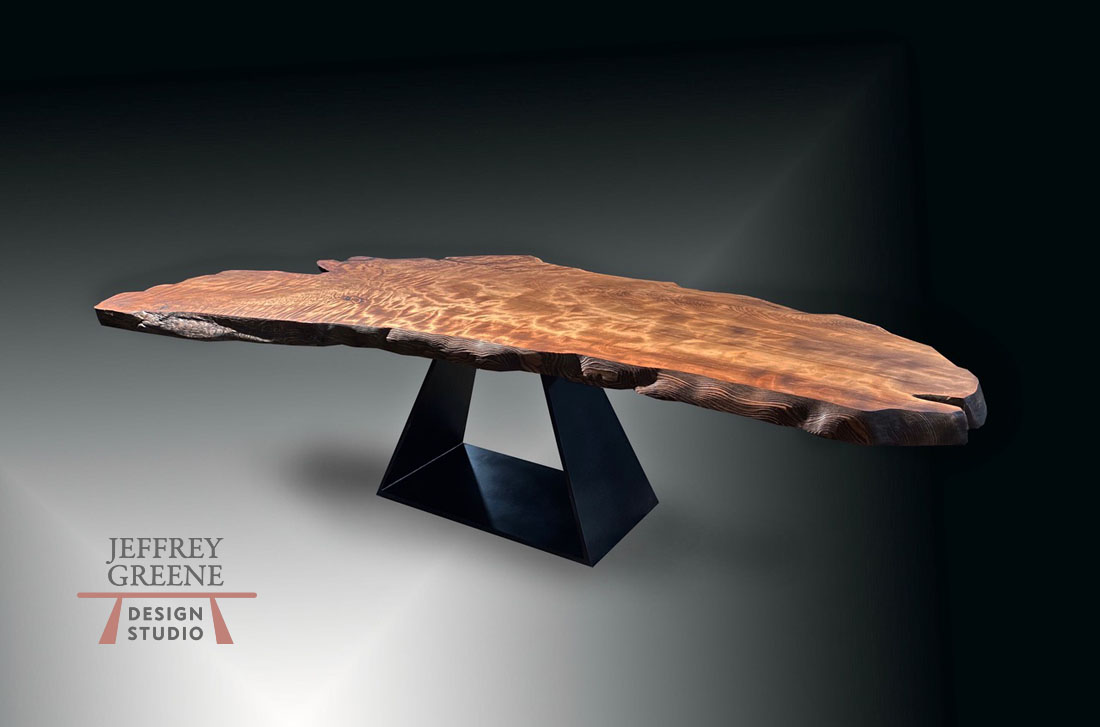 Massive Folded Trapezoid Live Edge Dining Table Jeffrey Greene