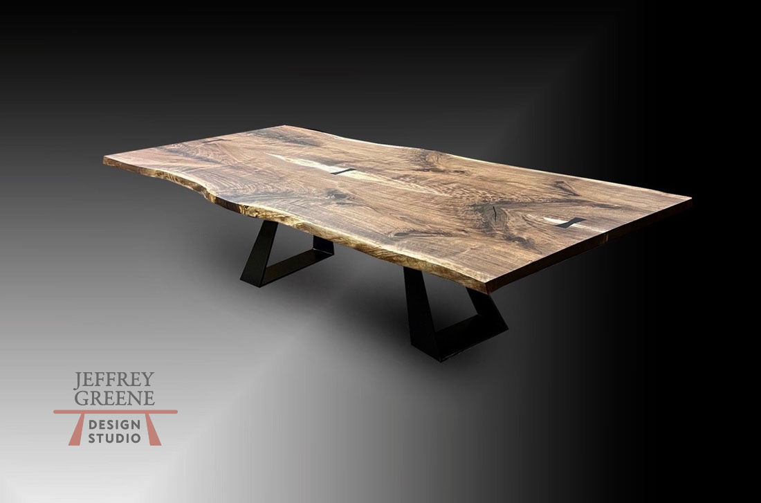 Compound Trapezoid Live Edge Dining Table in Burnished Black Jeffrey Greene