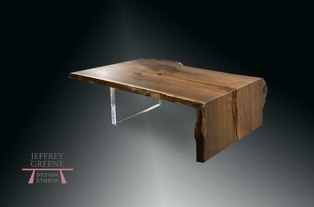 Half Fold Plexiglas Live Edge Coffee Table Jeffrey Greene