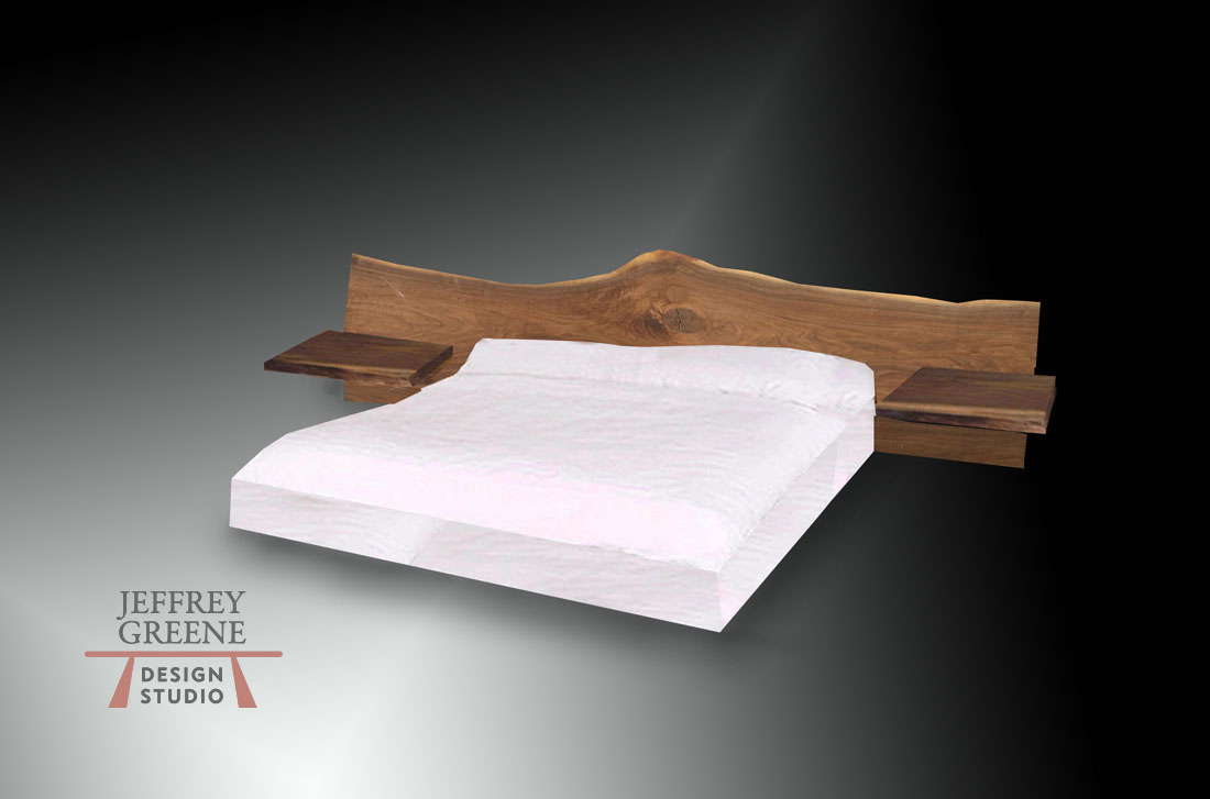 Live Edge Headboard with Night Tables to the Floor Jeffrey Greene